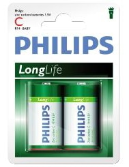 Philips Batteri, Longlife LR14 1.5V, 2-Pack