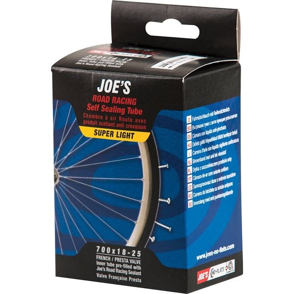 Joe's No-Flats Slang, Road Bike Self Sealing Tube Super Light 700x18/25c, Presta