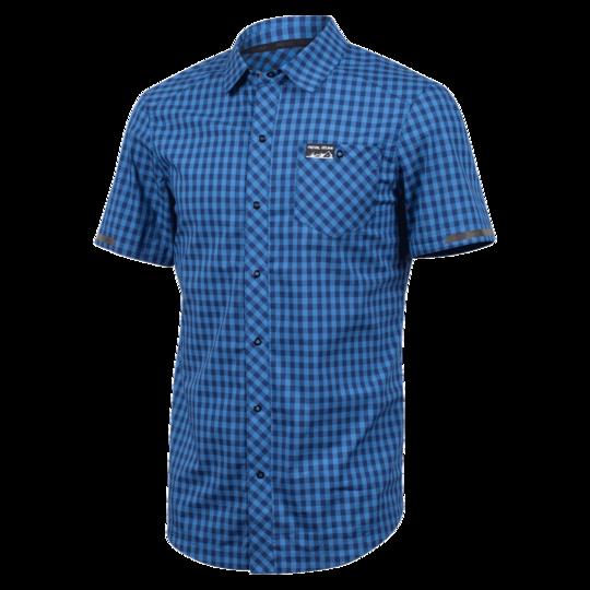 Pearl Izumi Tröja, Short Sleeve Button-Up, Blue Depths/Delft Plaid