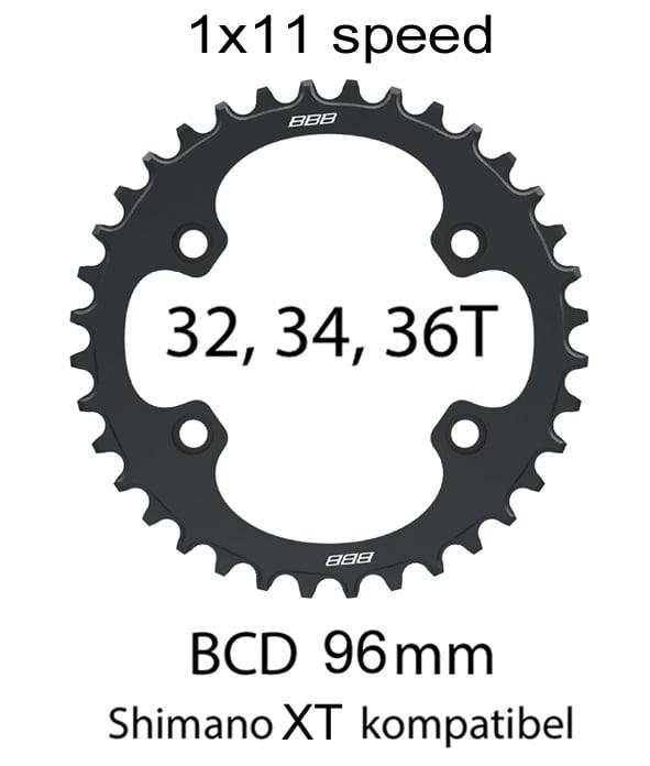 BBB Drev, MTB single 96BCD, XT M800 m.m. Svart