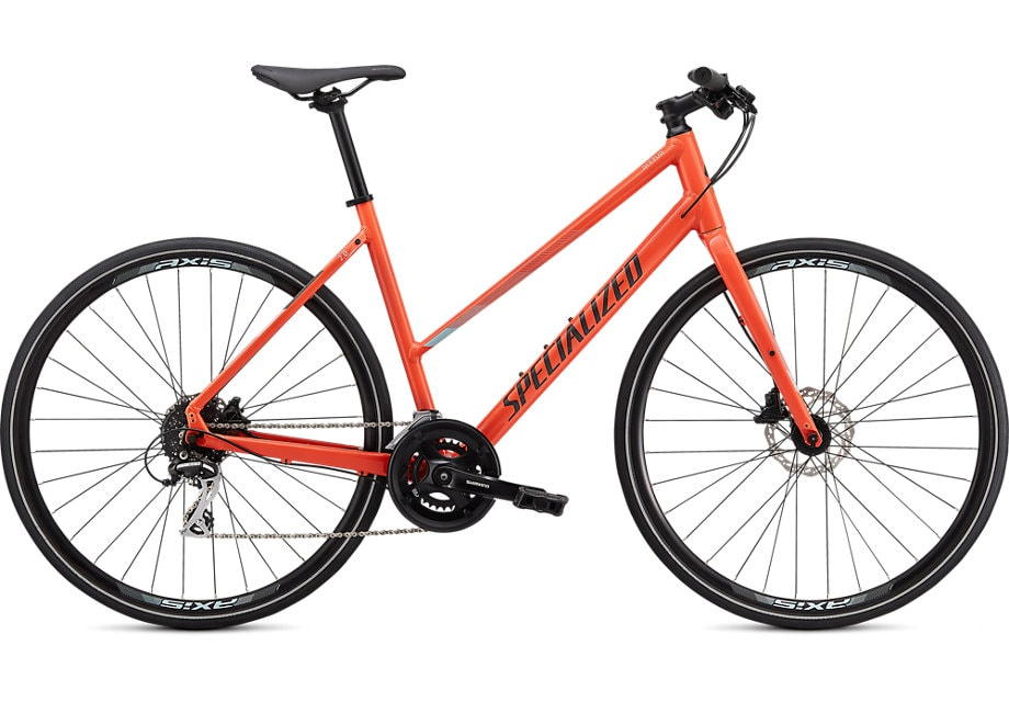 Specialized Cykel, Sirrus 2.0 Step Through 2020, Gloss Vivid Coral/Summer Blue/Satin Black Reflective