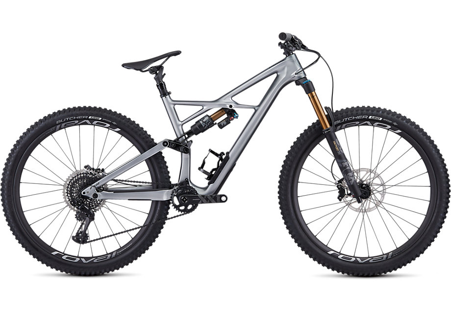 Specialized Cykel, Enduro S-Works 29 2019, Gloss Flake Silver Form Fade/Tarmac Black