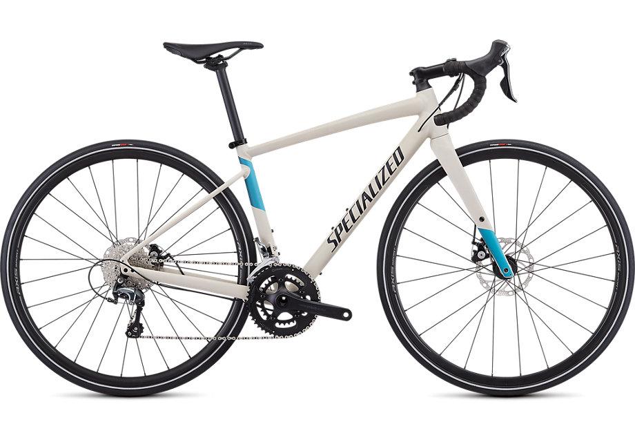 Specialized Cykel, Diverge E5 Elite Women 2019, Satin White Mountains/Tropical Teal-Nice Blue/Black