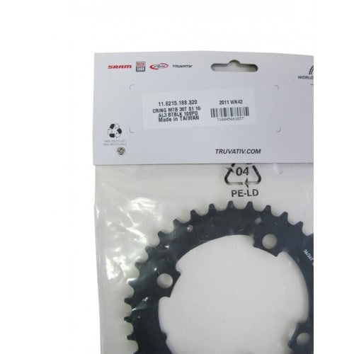 SRAM Drev, Single Speed Al3, 4 bult x 104 mm, 38t Svart